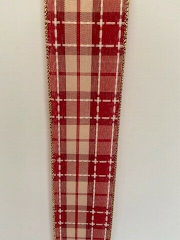 2.5quot; WIDE NATURAL BURLAP WITH RED amp; WHITE PLAID WIRED EDGES. 25 FOOT ROLLS
