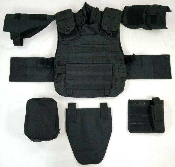 Tactical MOLLE Modular Plate Carrier System Military BLACK w AttachmentsPouches $180.00