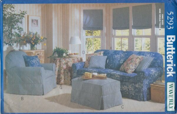 Butterick 5293 Waverly slipcovers for sofa chair ottoman home dec pattern UNCUT $6.00