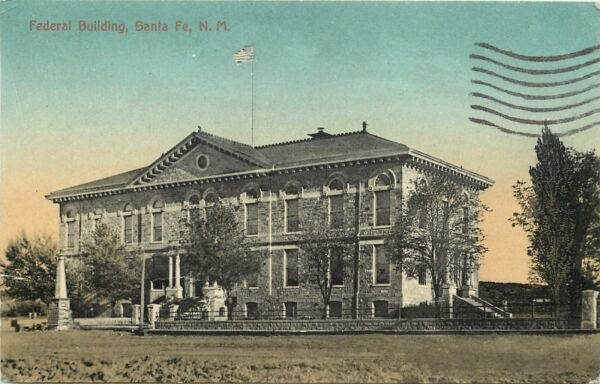 c1910 Postcard; Old Federal Building Santa Fe NM Zook#x27;s Pharmacy Pub. Posted