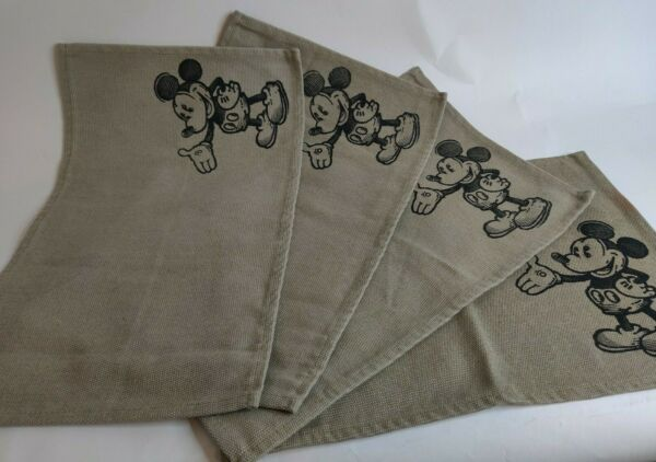 Lot of 4 Mickey Mouse Placemats 18quot; x 11.5quot; Disney Parks Tan and Black