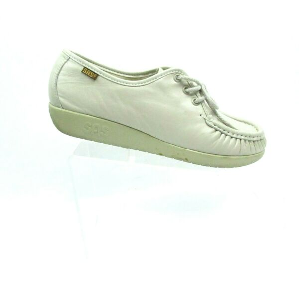 SAS Siesta Handsewn Leather Lace Up Oxford Shoes Beige Women#x27;s Size 8 W $36.99