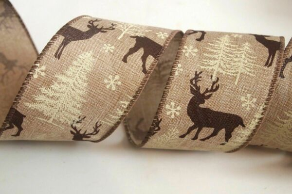 5 Yards Burlap Deer 2 1 2quot; Wired Ribbon Snowflakes White Christmas Trees 5 yds