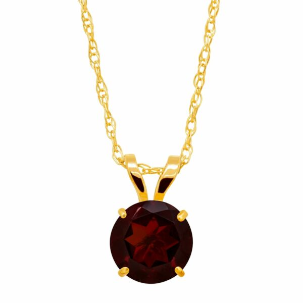 Round Cut Solitaire Pendant in 10K Gold 18quot;