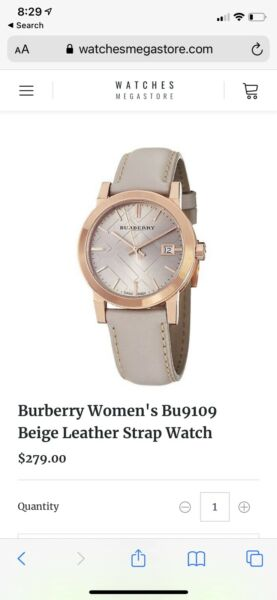 Burberry Women#x27;s Nude Leather Strap Watch Rose Gold 34mm BU9109 $99.00