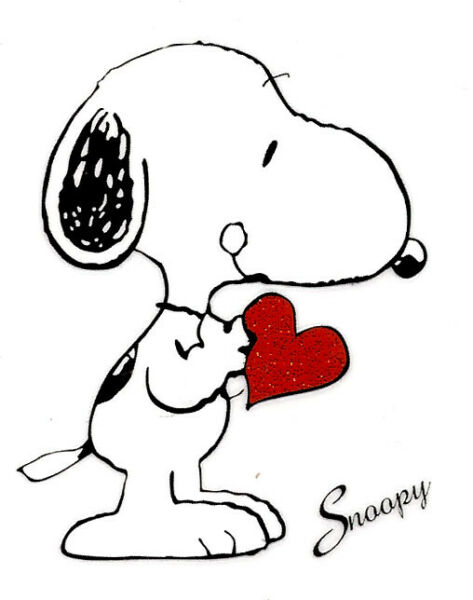 2.5X3quot; Snoopy IRON ON TRANSFER Heat white puppy dog red heart valentine love $4.99