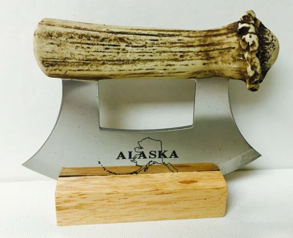 ALASKAN ULU KNIFE STAINLESS STEEL BLADE WITH CULTURED MOOSE ANTLER HANDLE