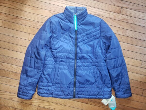 Women#x27;s Reversible Free Country Quilted Jacket Coat Navy Blue Size XL Tall $44.99