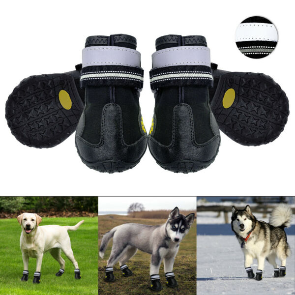 Waterproof Dog Hiking Shoes Paw Protector Winter Dog Boots with Reflective Strap $17.99
