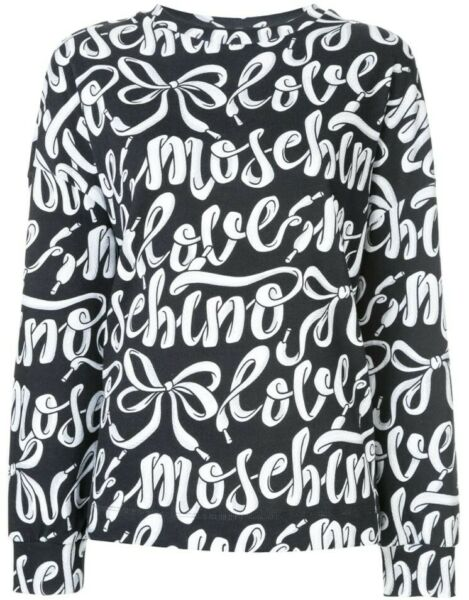 NEW Love Moschino Women#x27;s Shoelace Logo Print Sweatshirt NWT IT 42 US 8 10 Med $65.00