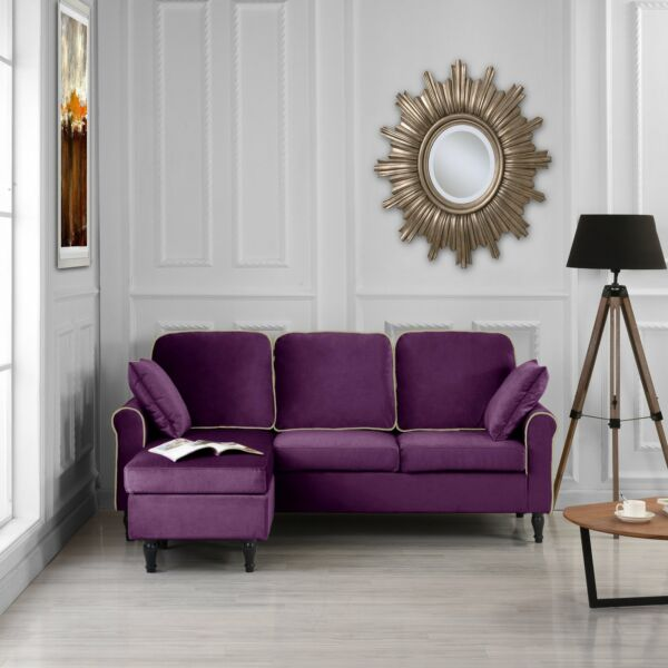 Classic Small Space Velvet Fabric Sectional Sofa with Reversible Chaise Purple $289.99