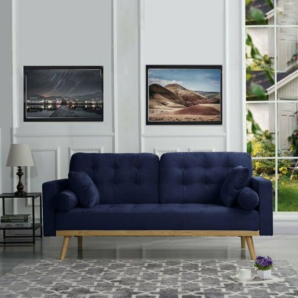 Mid Century Modern Tufted Velvet Sofa 2 Bolster Pillows 2 Accent Pillows Navy $239.99