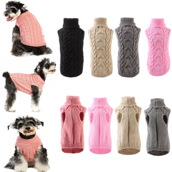 Soft Pet Dogs Knitted Jumper Sweater Winter Warm Puppy Clothes Pullover LOT $0.99