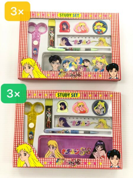 Wholesale Lot of 6 Sailor Moon Study Set 3 Pink 3 Clear