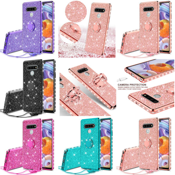 For LG Stylo 6 Cute Girls Glitter Phone Case with Ring Kickstand $10.98