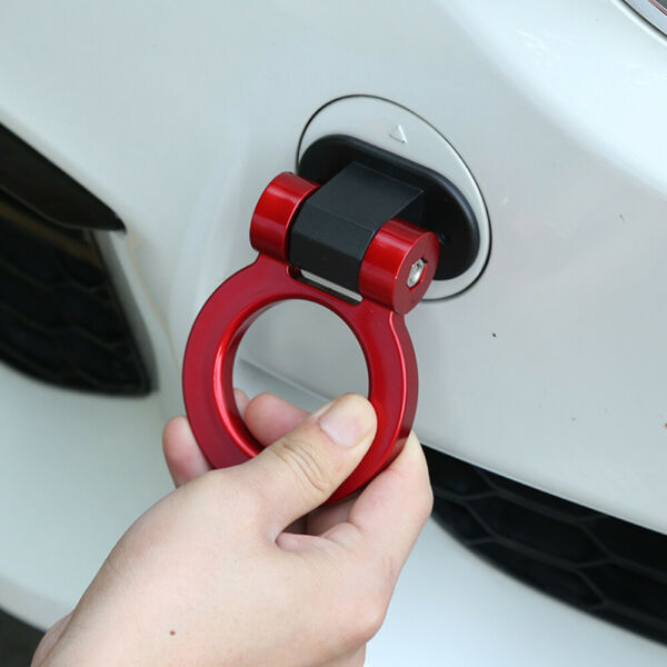 Universal Car Ring Track Racing Style Tow Hook Look Decoration Red Accessories
