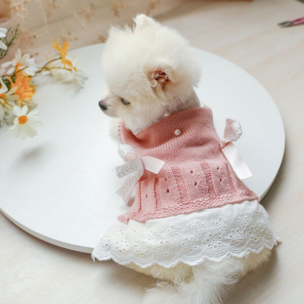 Dog Sweaters for Small Dogs Soft Warm Pink Puppy Girl Dog Dress with Bow Knot $9.99