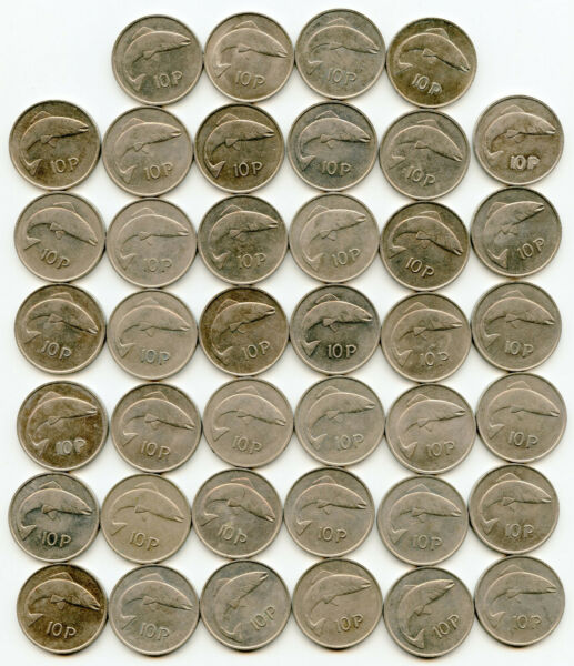1980 Ireland 10 Pence Fish 40th Anniversary or Birthday Lot of 40 nice coins $70.00