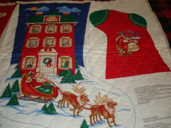 Quilted Panel w Two Christmas Stockings Santa Large 23quot; Smaller 13quot; $15.99