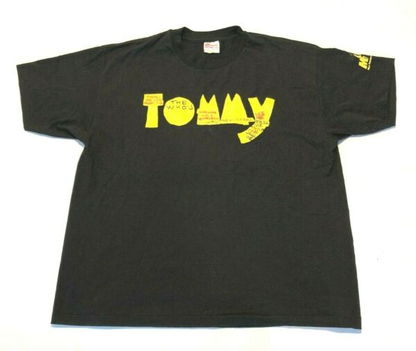 The Who's Tommy Men's XL Tshirt Black Rock Musical Broadway Short Sleeve Vintage $24.95