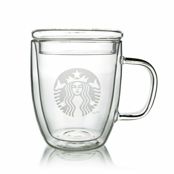Starbucks Mugs Heat proof Double Walled Coffee Cups with Glass Lid 350ml 450ml