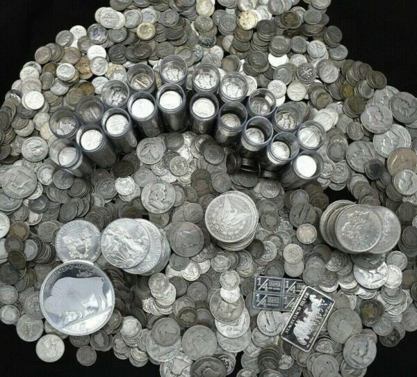 SILVER COINS OLD UNCIRCULATED COLLECTION BARS BULLION ROUNDS US 90% ESTATE