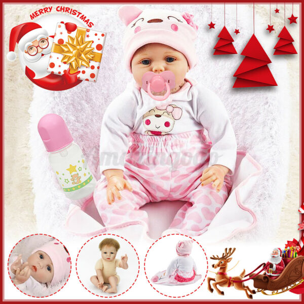 22quot; Reborn Baby Dolls Real Life Like Newborn Silicone Vinyl Handmade Doll Gifts