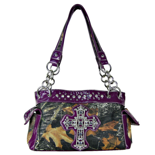 PURPLE RHINESTONE MOSSY CAMO LOOK CROSS SHOULDER HANDBAG COUNTRY WESTERN BLING