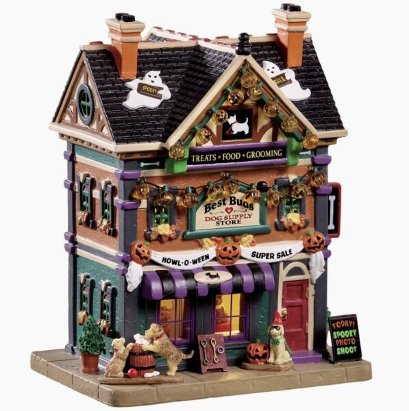 Lemax Spooky Town BEST BUDS DOG SUPPLY STORE #95459 BNIB ILLUMINATED BUILDING $62.95