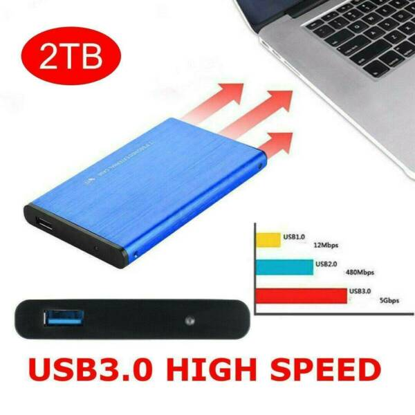 Portable USB 3.0 2TB 1TB 2.5quot; External Hard Drive Disk Ultra Slim For PC Laptop