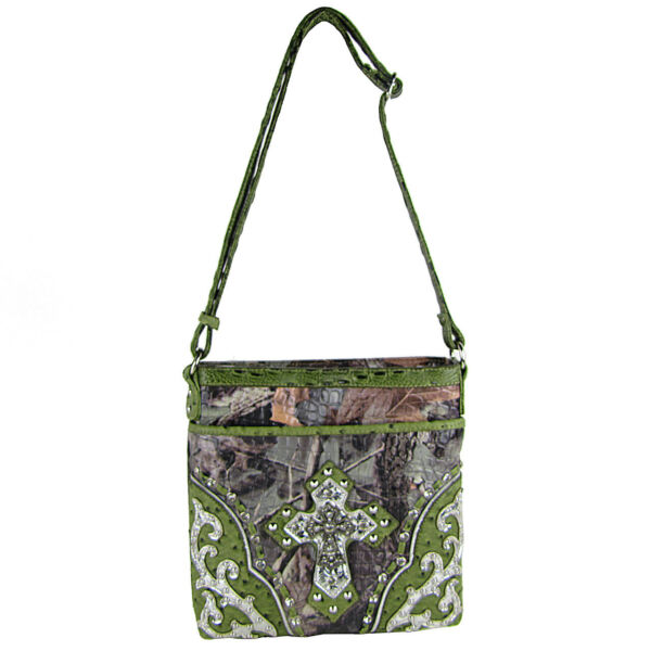 GREEN WESTERN STUDDED RHINESTONE MOSSY CAMO METALLIC CROSS LOOK MESSENGER BAG