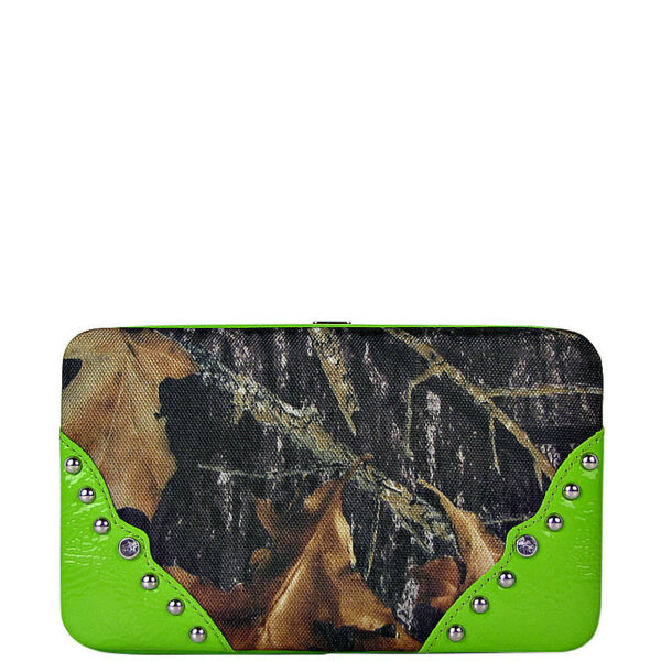 GREEN MOSSY CAMO FLAT WALLET LOOK FLAT THICK WALLET FASHION BLING CLASP BIFOLD