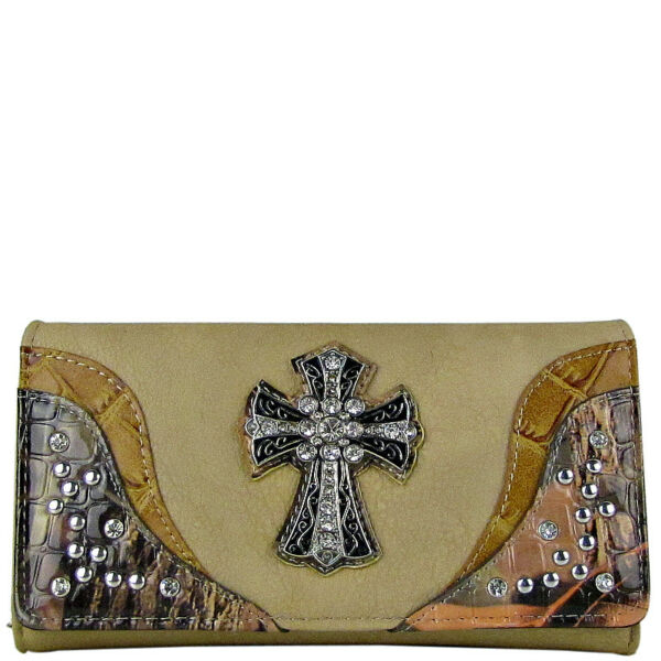 BEIGE WESTERN STUDDED MOSSY CAMO CROSS LOOK CHECKBOOK TRIFOLD WALLET WESTERN NEW