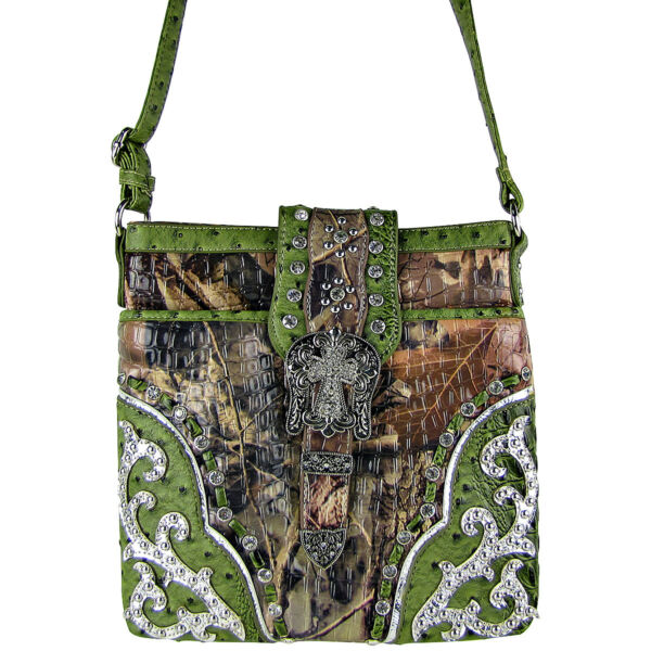 GREEN MOSSY CAMO OSTRICH STUDDED RHINESTONE CROSS BUCKLE MESSENGER BAG BLING