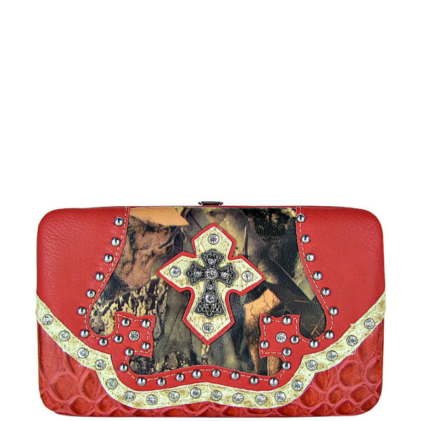 PINK MOSSY CAMO RHINESTONE CROSS LOOK THICK FLAT WALLET COUNTRY WESTERN FASHION