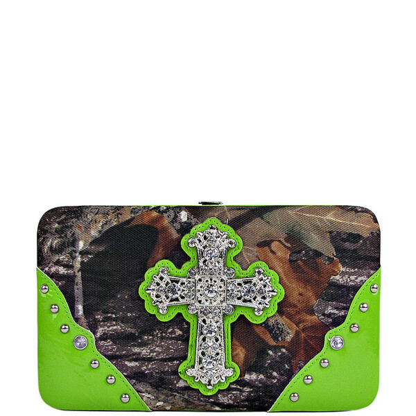 GREEN CROSS MOSSY CAMO LOOK FLAT THICK WALLET WESTERN BLING BIFOLD FASHION NEW