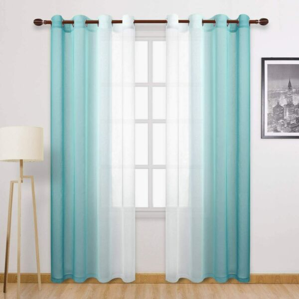 Faux Linen Sheer Curtains Voile Grommet Ombre Teal Semi Sheer Curtains 52quot; x 96quot;
