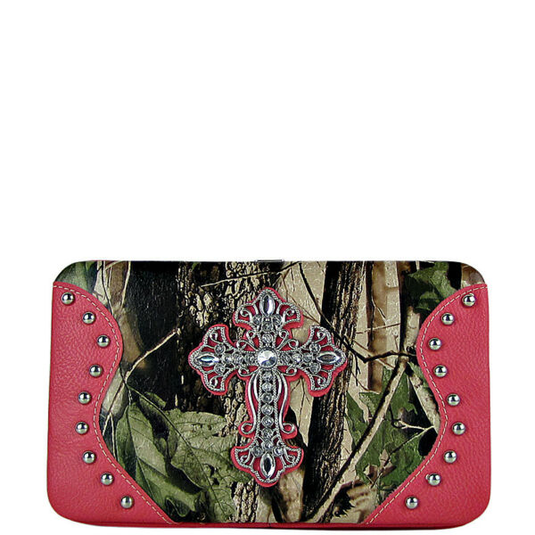 HOT PINK MOSSY CAMO CROSS LOOK FLAT THICK WALLET WESTERN BLING FASHION CLASP