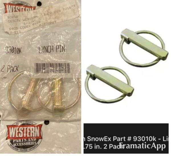 Western Genuine Parts Snow Plow Part # 93010k Linchpin 7 16 X 1.75 in. 2 Pack