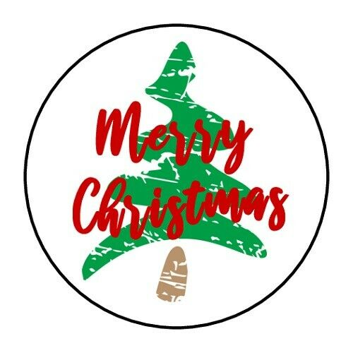 MERRY CHRISTMAS TREE STICKER LABEL ENVELOPE SEAL PARTY 1.2quot; OR 1.5quot; ROUND