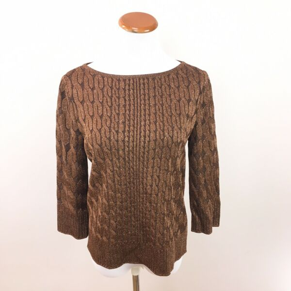 ST. JOHN Cable Knit Bronze Metallic Knit Boat Neck 3 4 Sleeve Top Women's Small