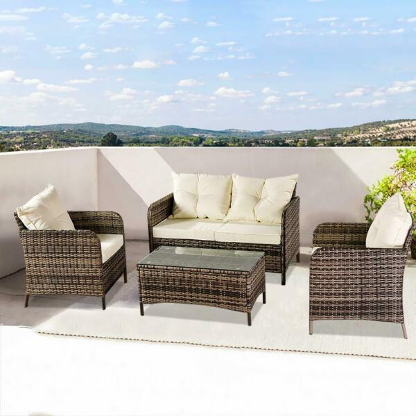 4 PCS Patio Furniture Sectional Sofa Set Rattan Wicker Cushioned Couch Outdoor $319.99