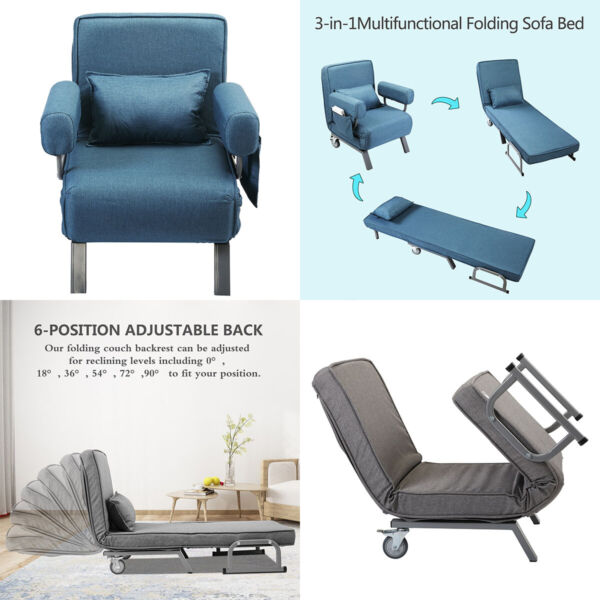 New Convertible Sofa Bed Folding Arm Chair Sleeper Leisure Recliner Lounge Couch $117.99