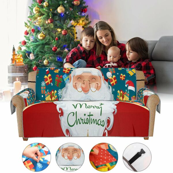 2PC Lot Santa Claus Sofa Slipcover Couch Sofa Cover Elastic Straps Christmas $25.89