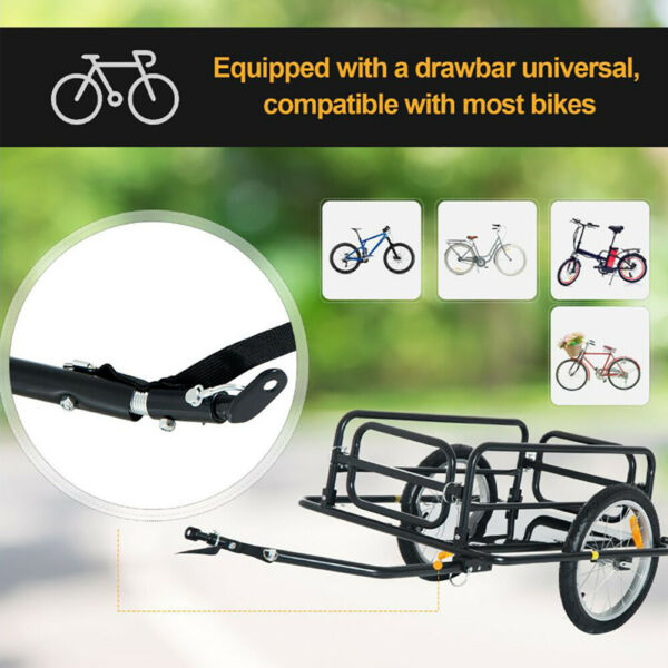 Bicycle Bike Cargo Trailer Steel Luggage Cart Carrier Vehicle Sporting Accessory $132.99