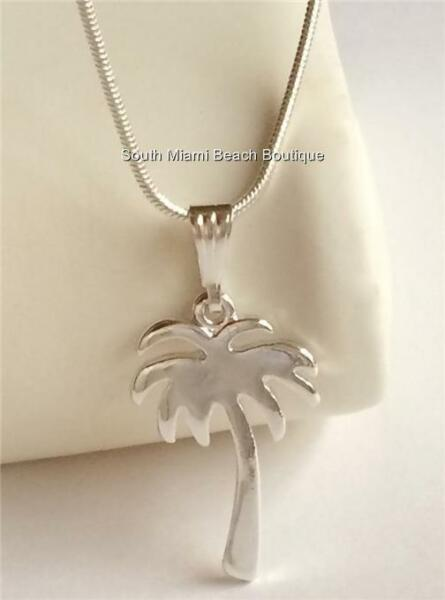 Silver Palm Tree Necklace Pendant Beach 18quot; Coconut Island Plated USA Seller