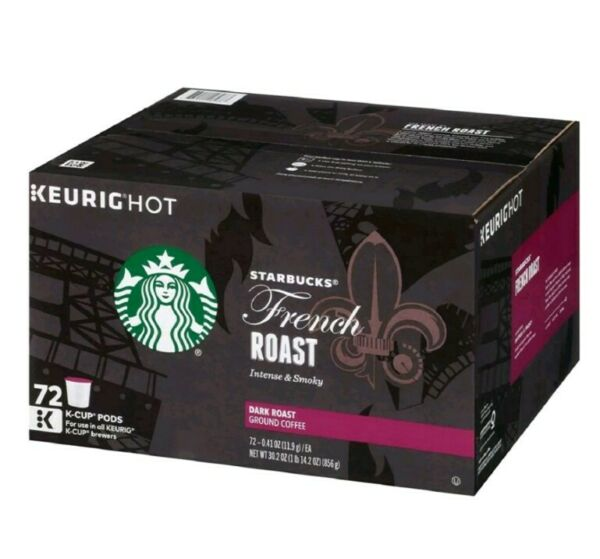 Starbucks French Roast Coffee K Cups 72 ct. 1 2020 Date Loose Pods Packed