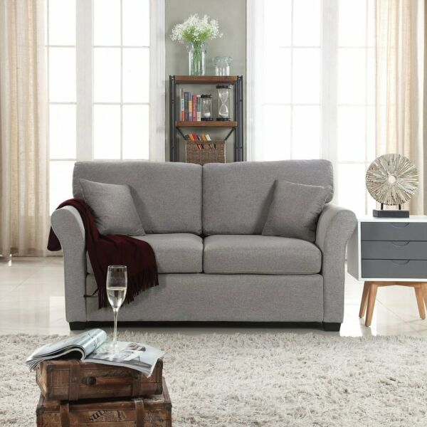 Modern Living Room Loveseat Home Decor Love Seat Sofa Couch Linen Grey $269.99