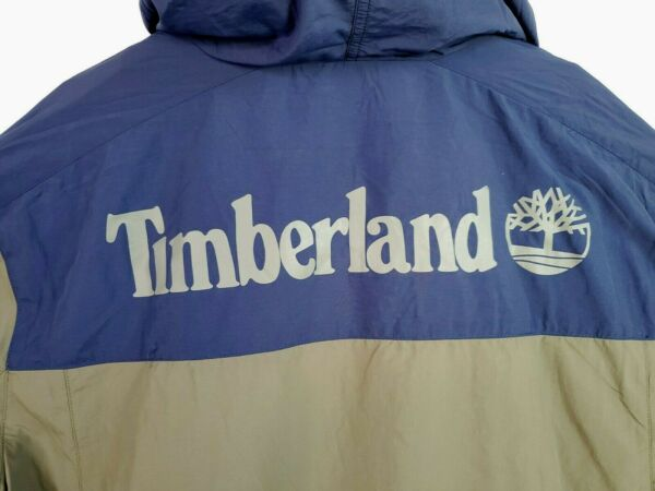Timberland XXL Olive Green Navy Block Windbreaker WaterResistant Hood Jacket NWT $69.99