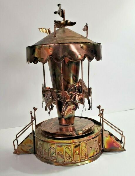 Vintage Copper and Tin Horse Carousel Horses Music Box plays The Carousel Waltz